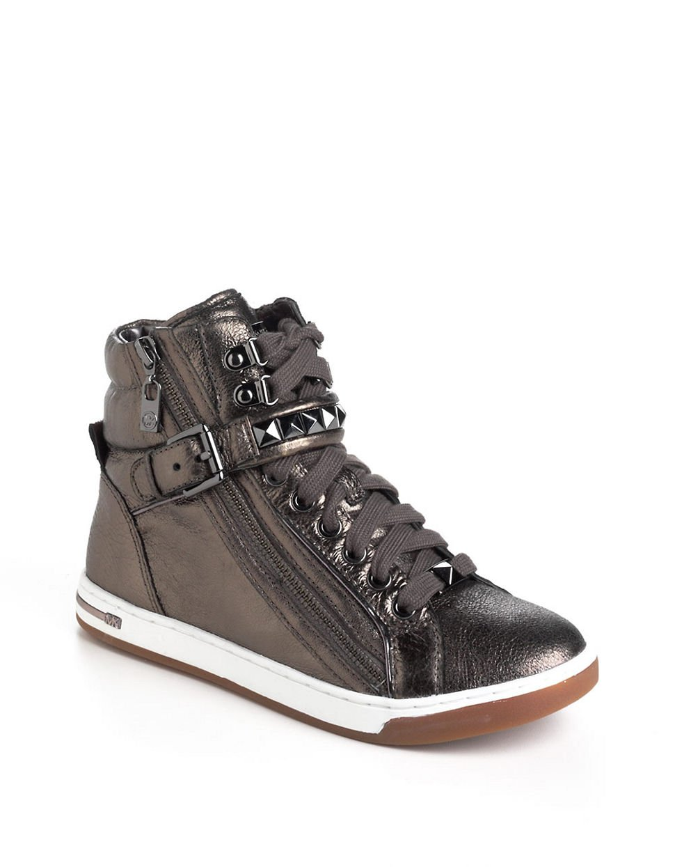 michael michael kors glam studded leather high top sneakers in silver lyst. Black Bedroom Furniture Sets. Home Design Ideas