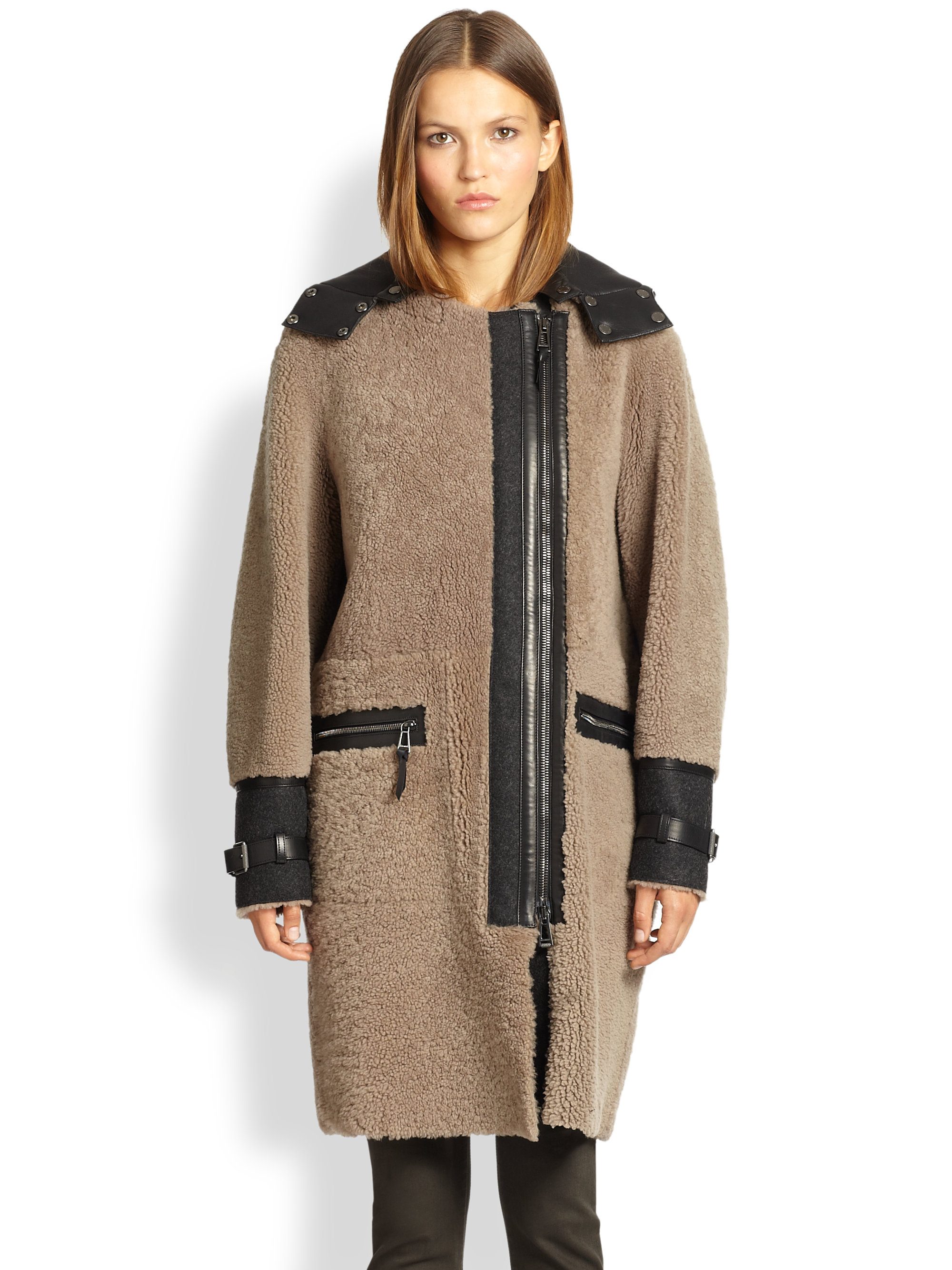 Belstaff Ava Long Shearling Coat in Natural | Lyst