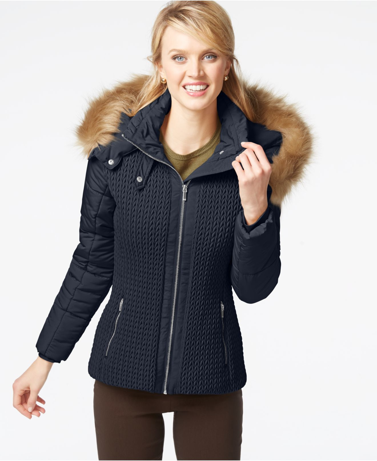 Jones New York Faux Fur Hood Quilted Knit Jacket In Blue