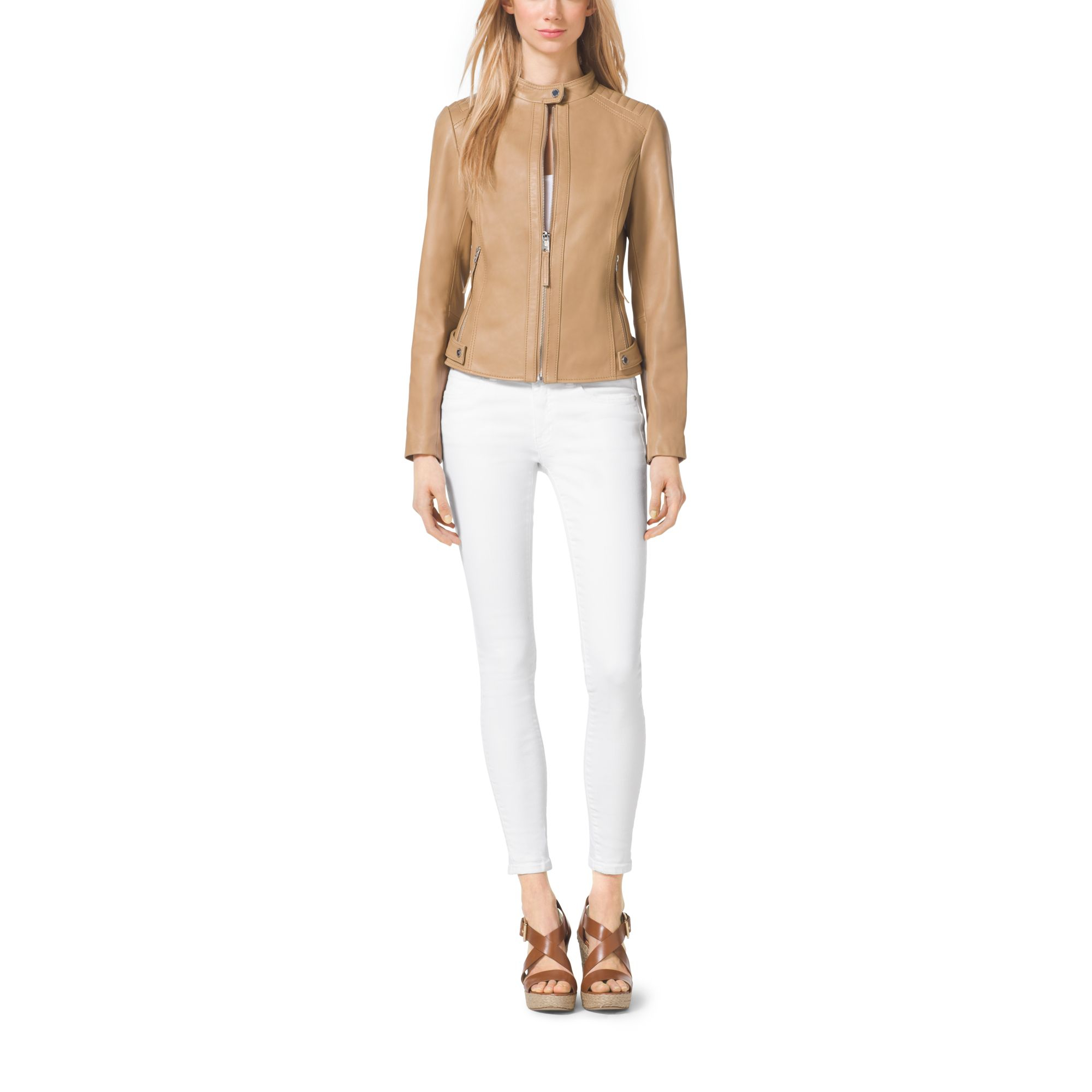 d99aa03af900e Lyst - Michael Kors Leather Jacket in Natural