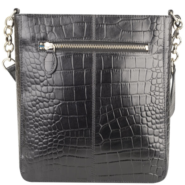 458fbe693f Osprey London Womens Carapace Croc Leather Cross Body Bag in Black ...