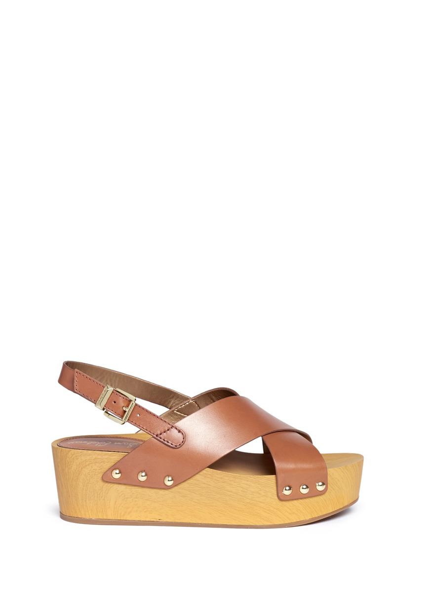 6c361dec1 Lyst - Sam Edelman  bentlee  Leather Wooden Clog Platform Sandals in ...