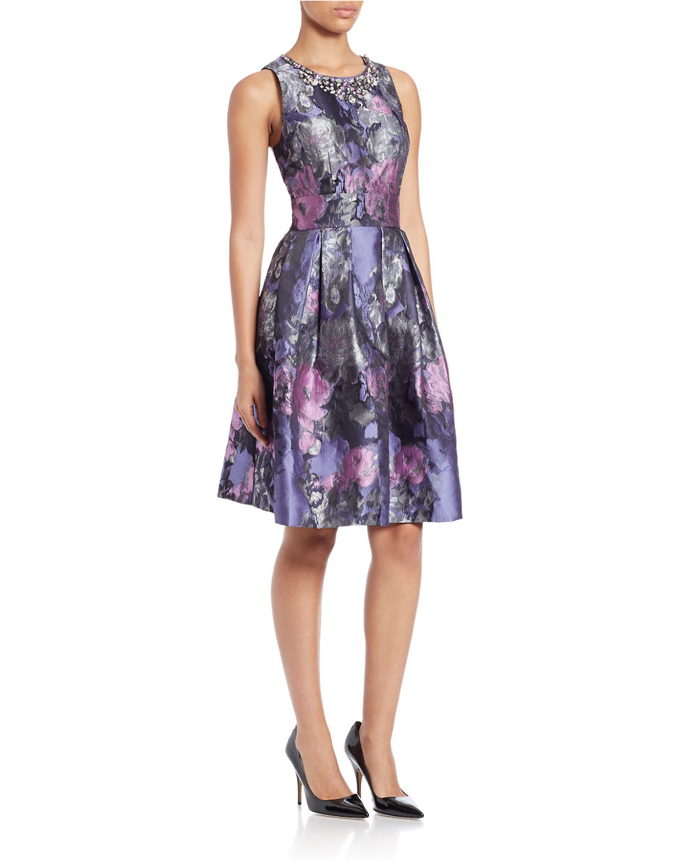 Eliza J Floral Print Fit And Flare Dress In Purple Lyst