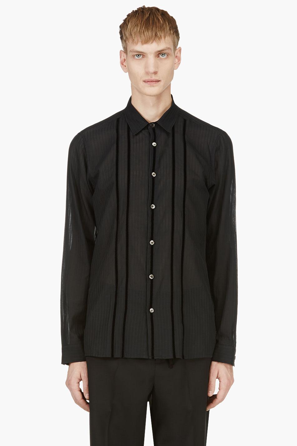 Lyst ann demeulemeester black velvet stripe sheer button for Mens button down shirts