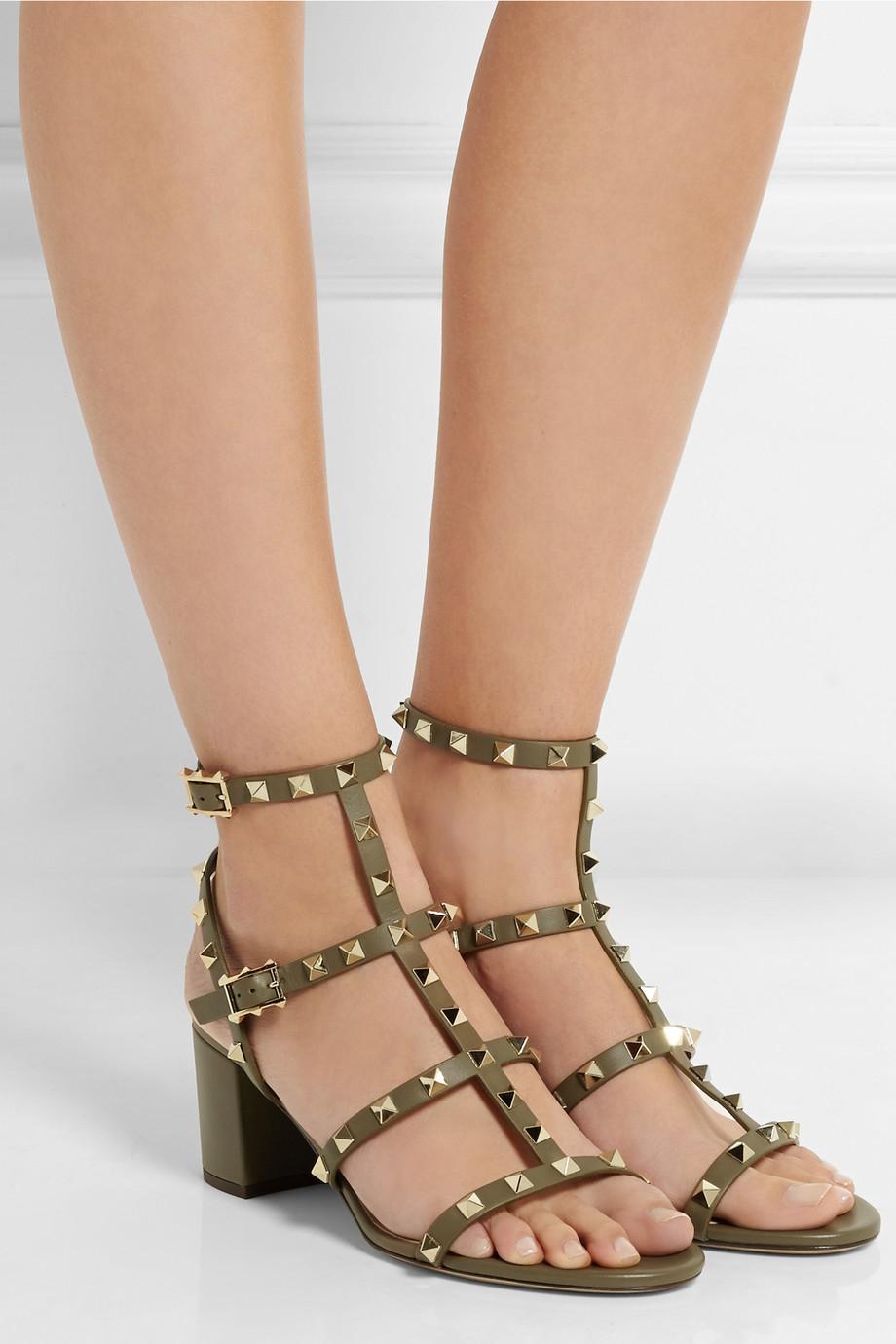 black rockstud 60 leather sandals Valentino SdXt0Jmng