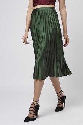topshop satin pleated midi skirt in green lyst
