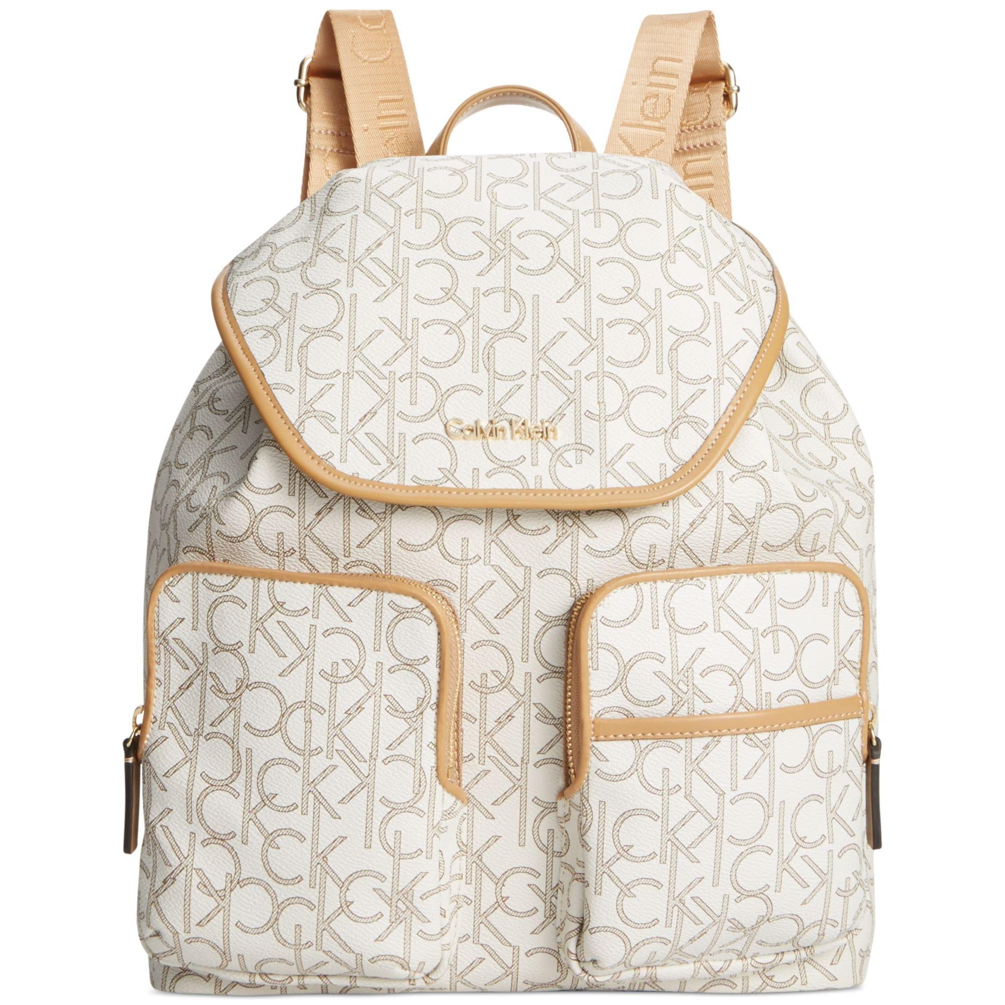 calvin klein hudson monogram backpack in white almond khaki camel lyst. Black Bedroom Furniture Sets. Home Design Ideas