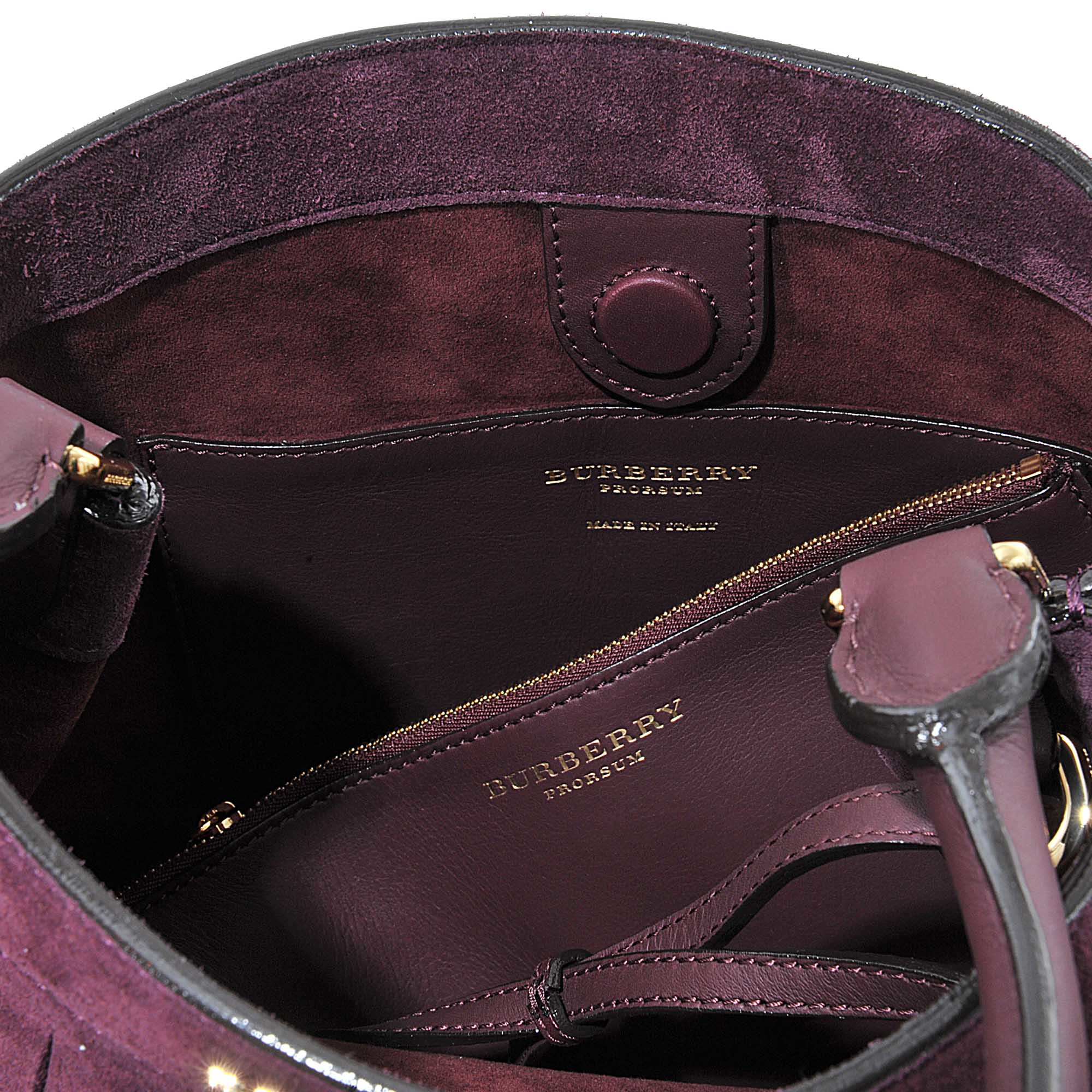 94e2180ea36 Lyst - Burberry Prorsum Suede Bucket Bag With Fringe in Purple