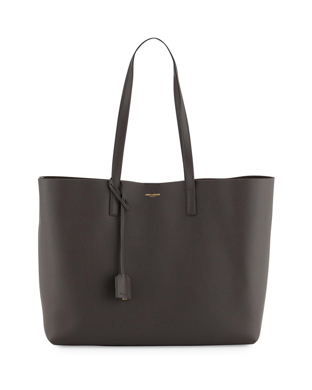 saint laurent large east west leather shopper bag in gray. Black Bedroom Furniture Sets. Home Design Ideas