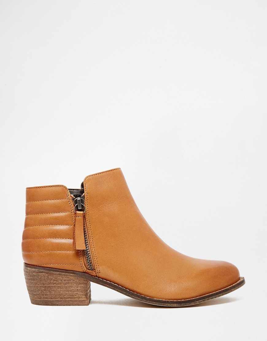 Dune Petrie Tan Leather Ridge Flat Ankle Boots in Brown | Lyst