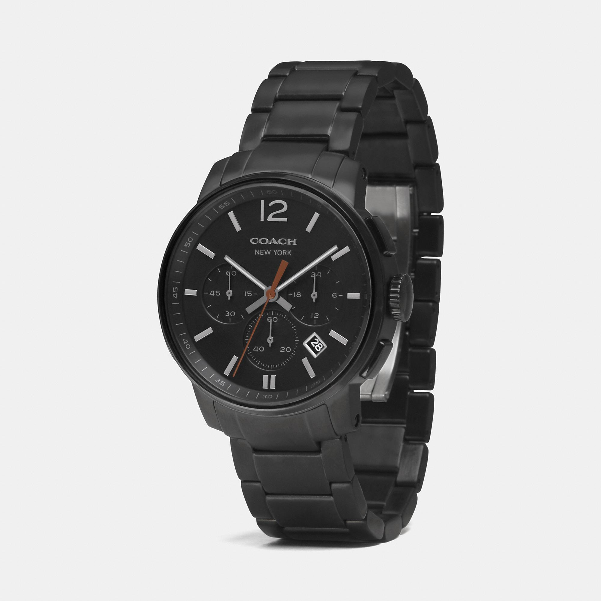 coach bleecker chrono ionized plating bracelet watch in black for gallery