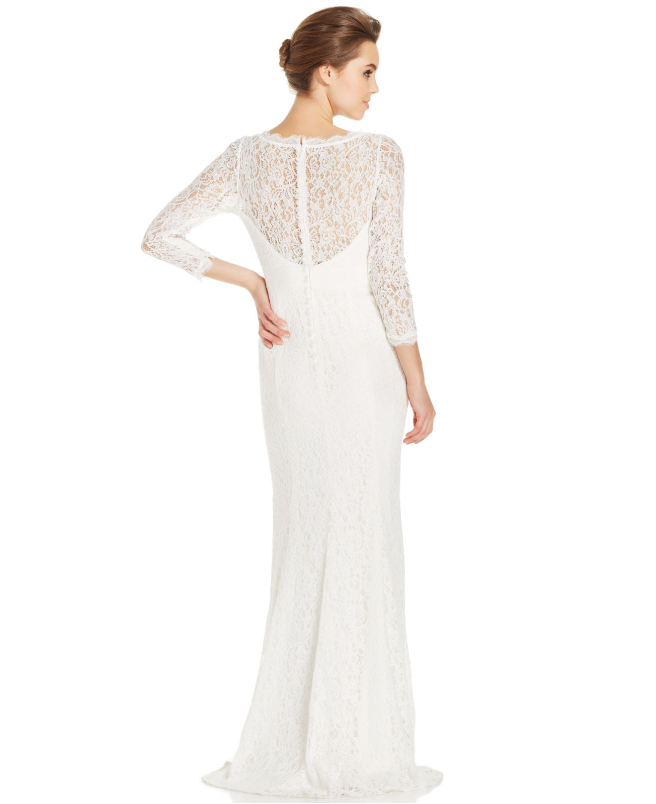 Lyst - Adrianna Papell Illusion Lace Embellished Gown in White