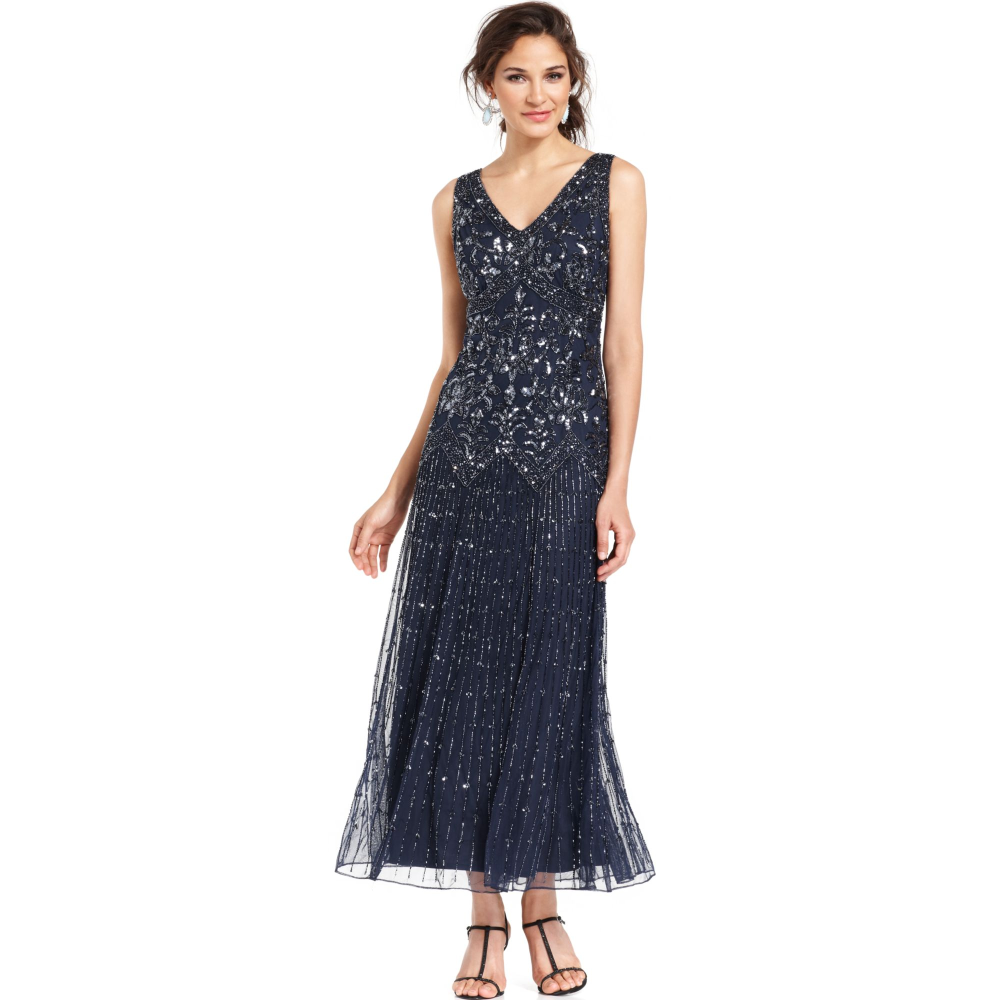 Pisarro nights Beaded A-line Cocktail Dress in Blue | Lyst