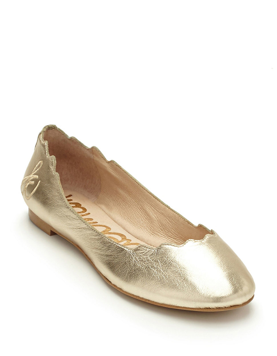 4f29d67bd65957 Lyst - Sam Edelman Augusta Leather Flats in Metallic