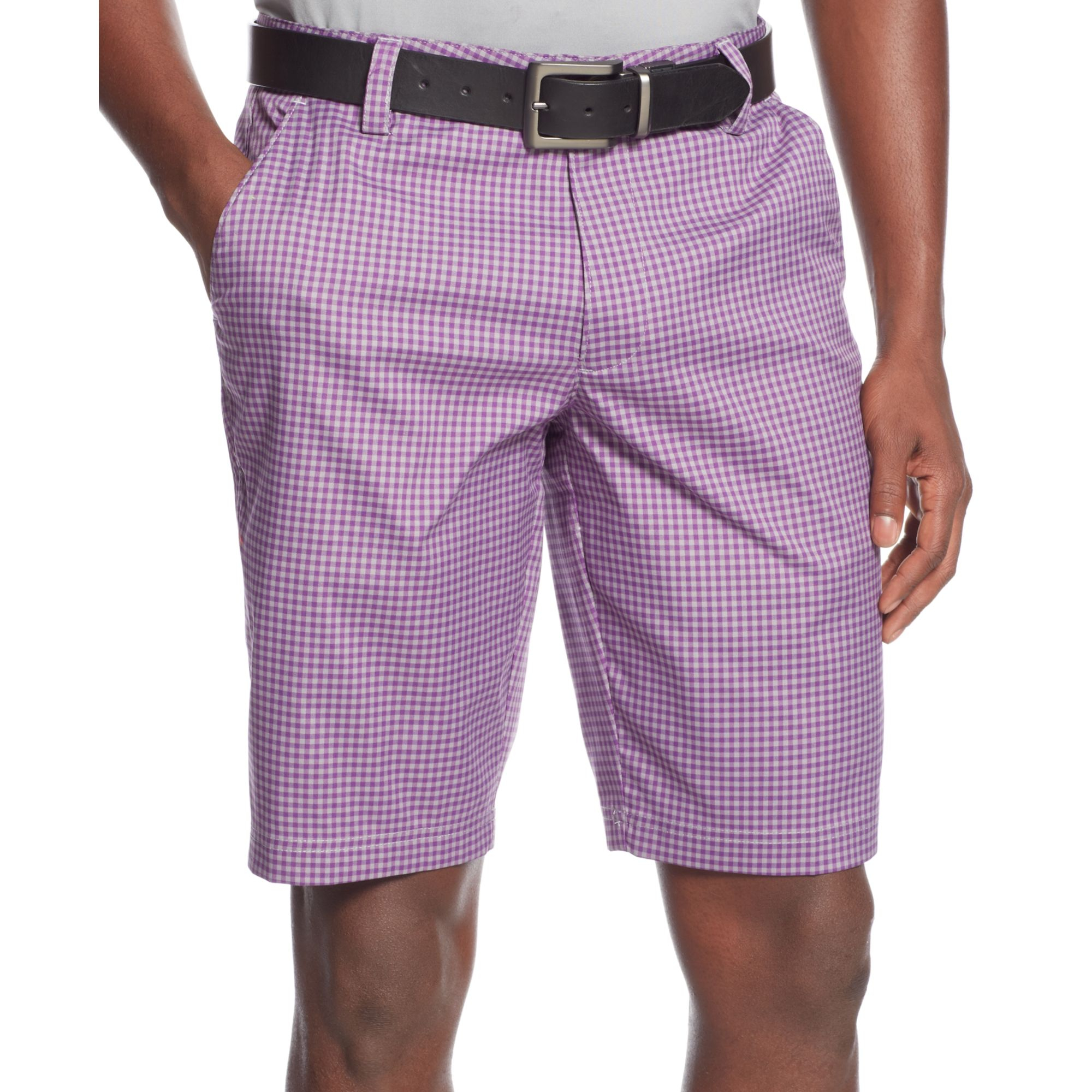 Under armour Gingham Check Golf Shorts in Purple for Men | Lyst