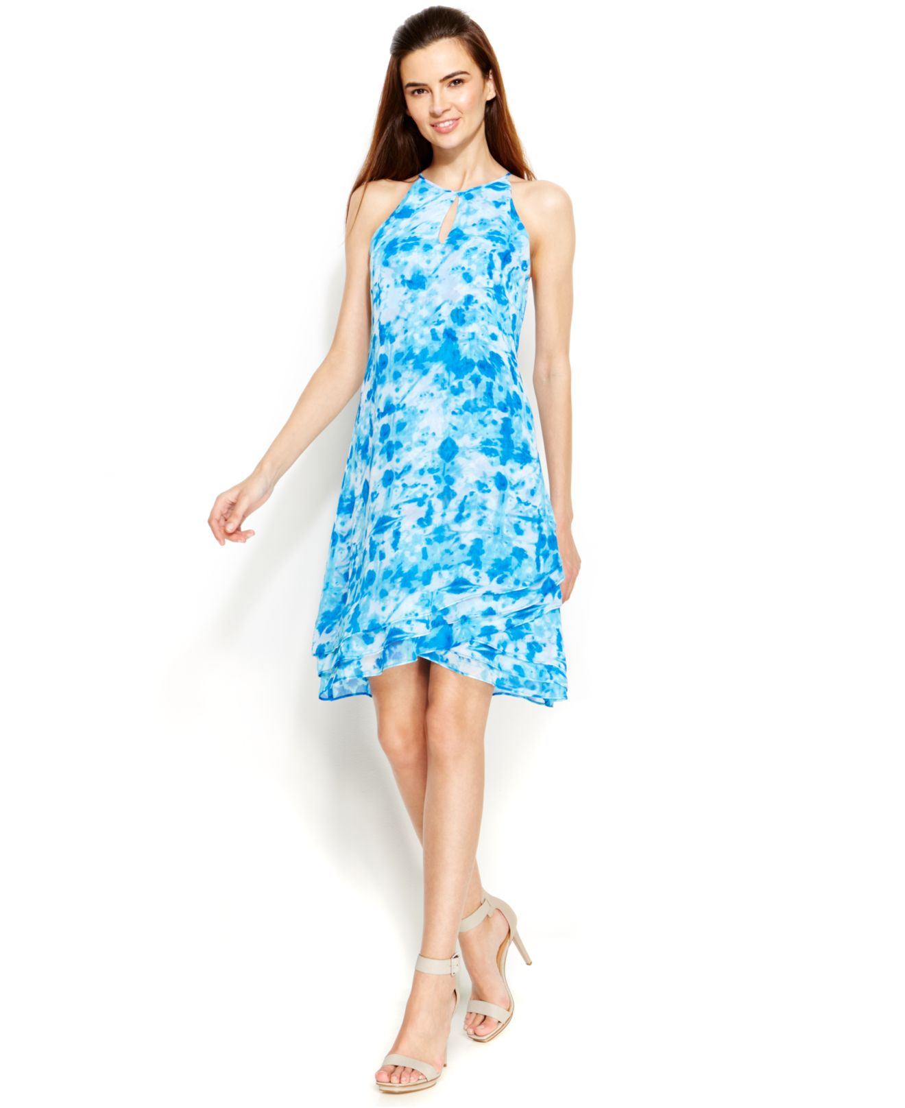 Lyst - Calvin Klein Petite Printed Keyhole Trapeze Dress in Blue