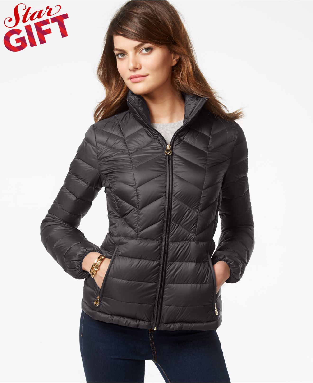 michael kors michael chevron quilted packable down jacket. Black Bedroom Furniture Sets. Home Design Ideas