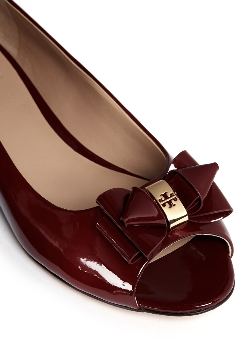 91b5b00c0a7 ... hot lyst tory burch bow patent leather peep toe flats in red 3f3ed 55daf