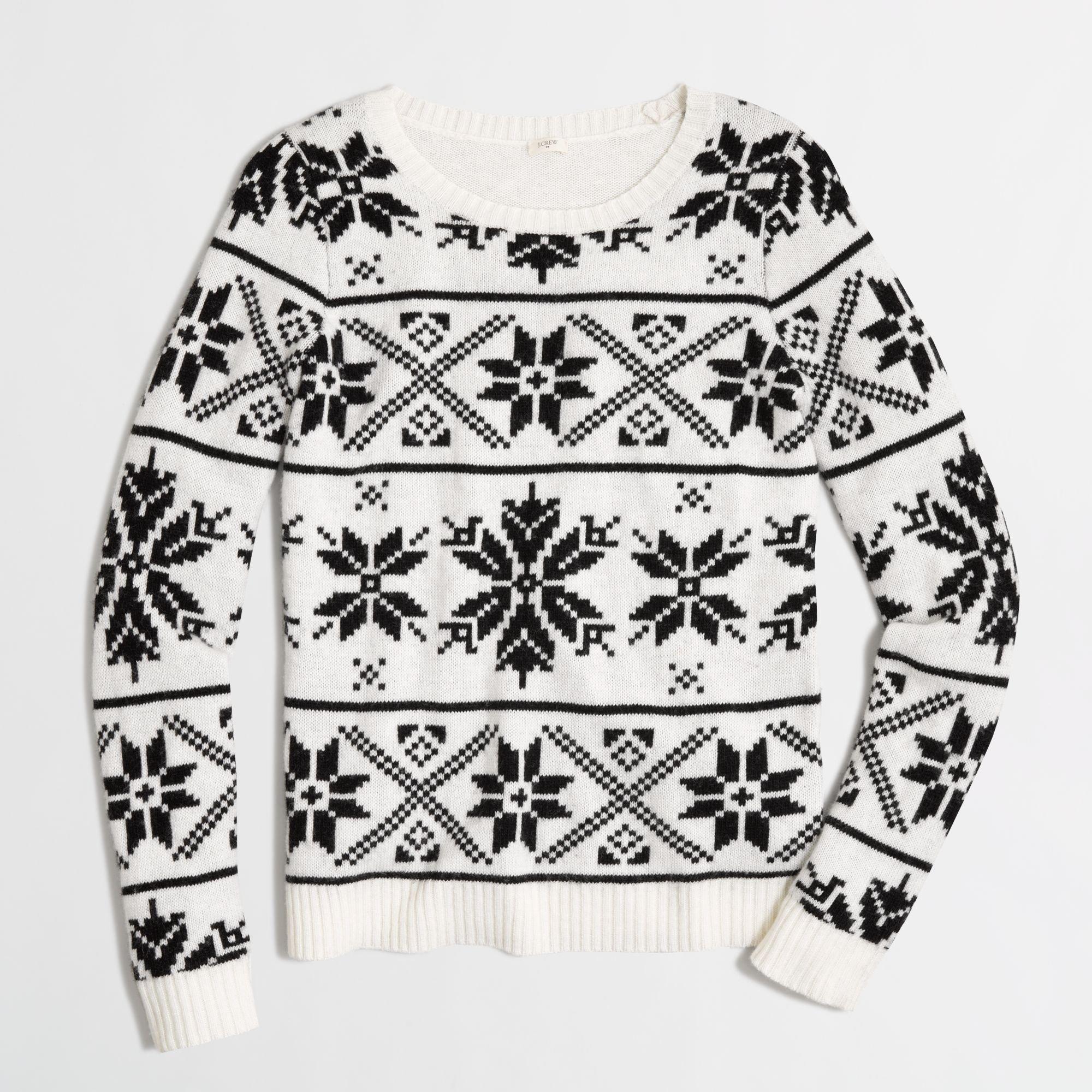 Lyst Jcrew Factory Snowflake Fair Isle Sweater In White