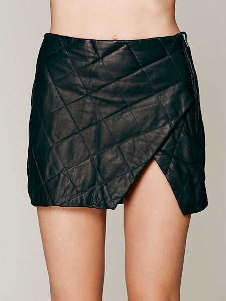 free manchester quilted leather skirt in black lyst