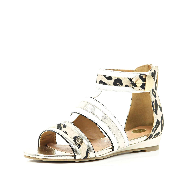 River Island Girls White Leopard Print Gladiator Sandal In