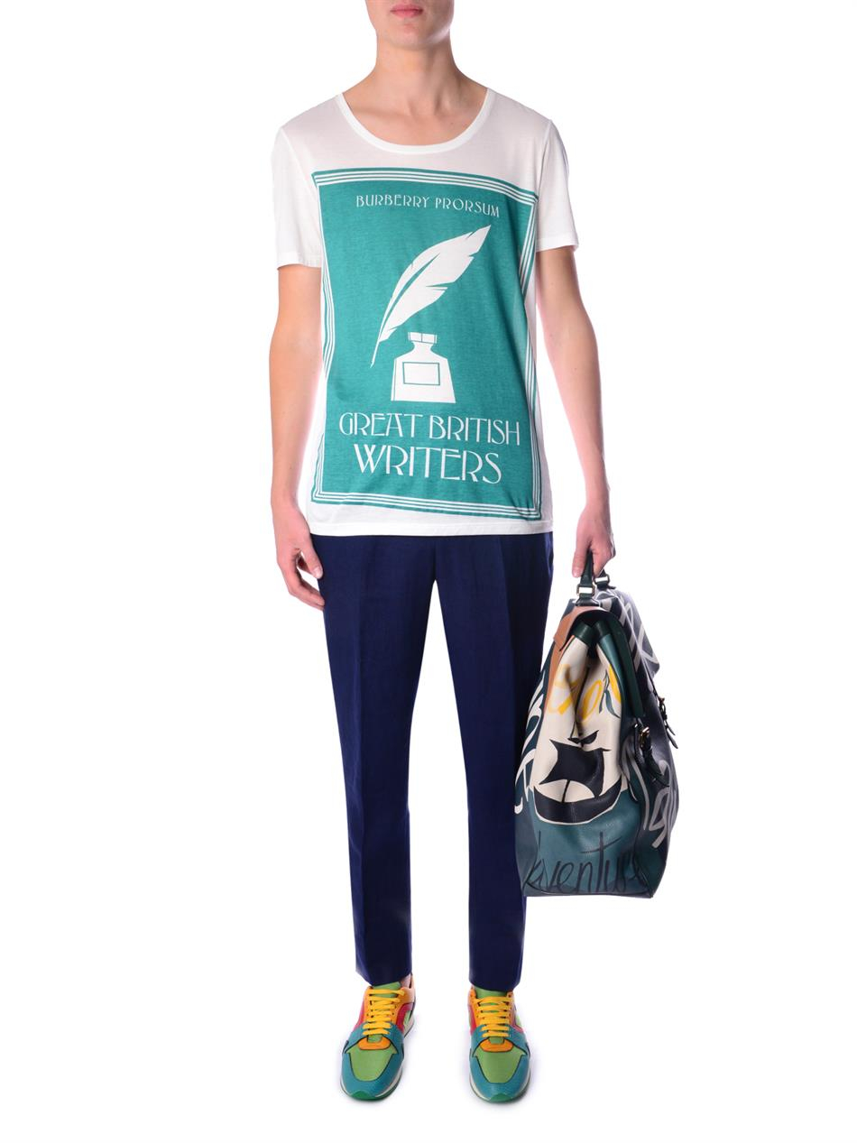 Book Cover White Jeans : Lyst burberry prorsum book cover print t shirt in white