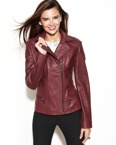 Anne Klein Asymmetrical Quilted Leather Jacket In Purple