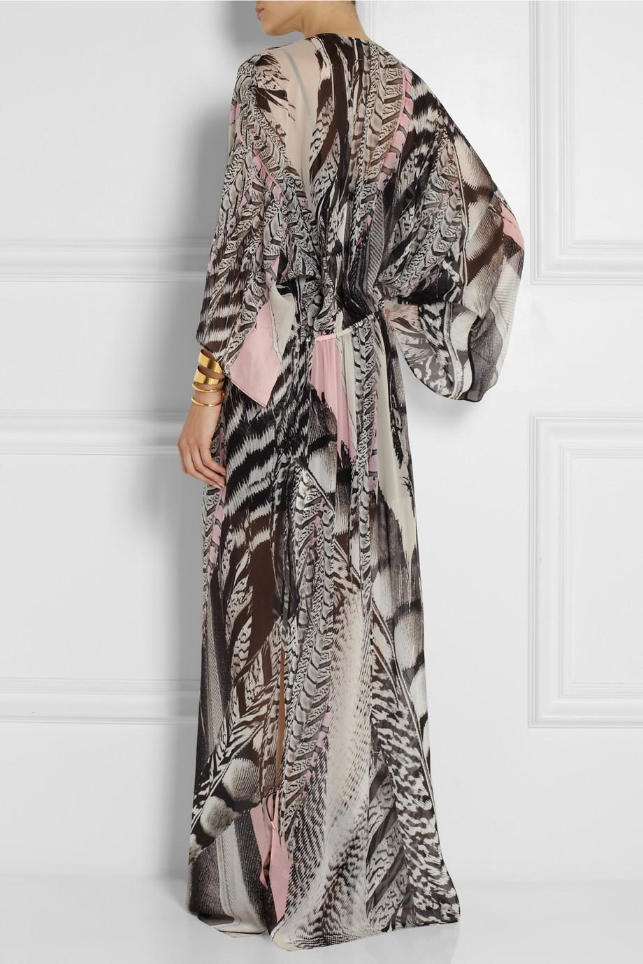 Roberto cavalli Printed Silk-Georgette Maxi Dress in Black | Lyst