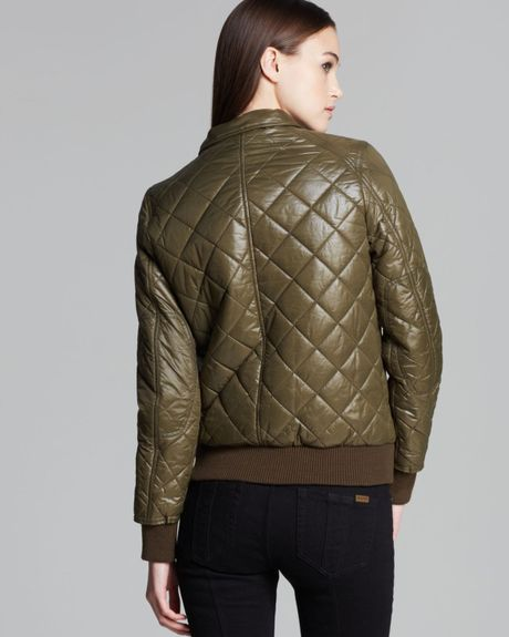 Dkny Avril Quilted Bomber Jacket In Green Olive Lyst