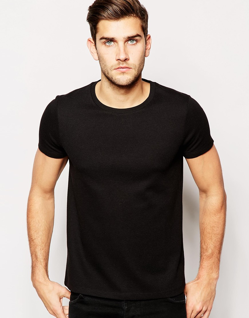 Lyst - Asos T-shirt With Crew Neck In Waffle Texture in Black for Men