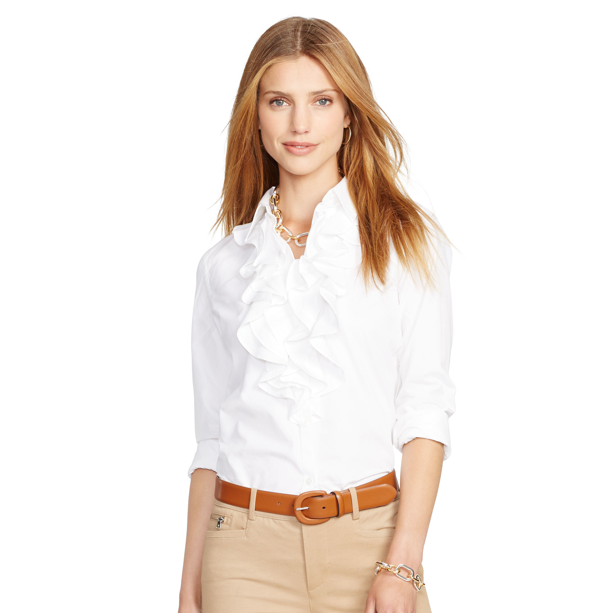 e052e50a54e886 ... canada ralph lauren ruffle front cotton shirt in white lyst d2750 ab373