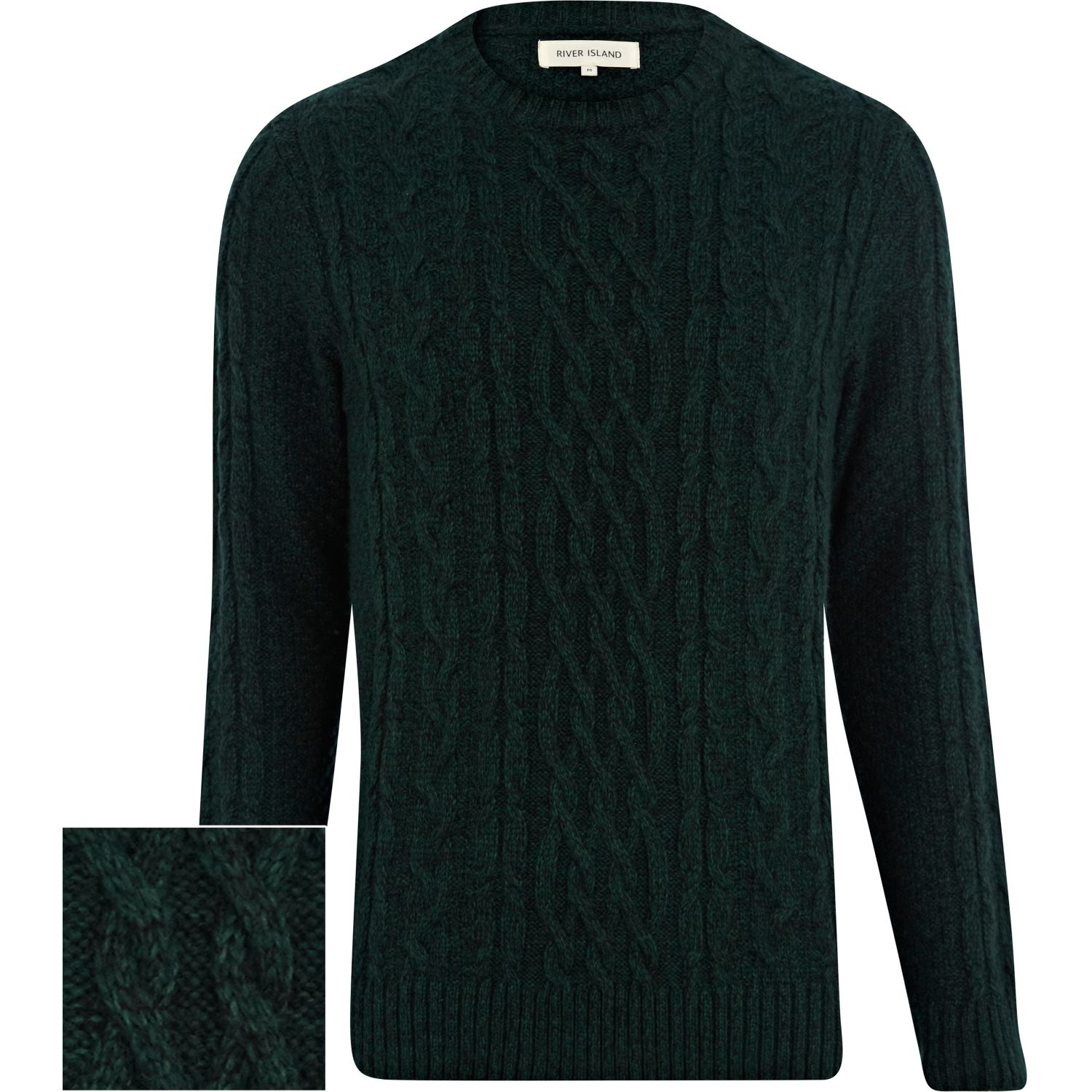 River Island Dark Green Cable Knit Sweater In Green For Men Lyst