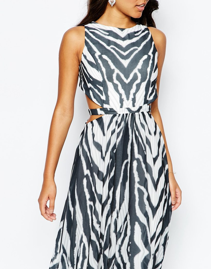 Lyst - Forever Unique Zebra Print Maxi Dress With Side Cut Outs in Black a8943d338