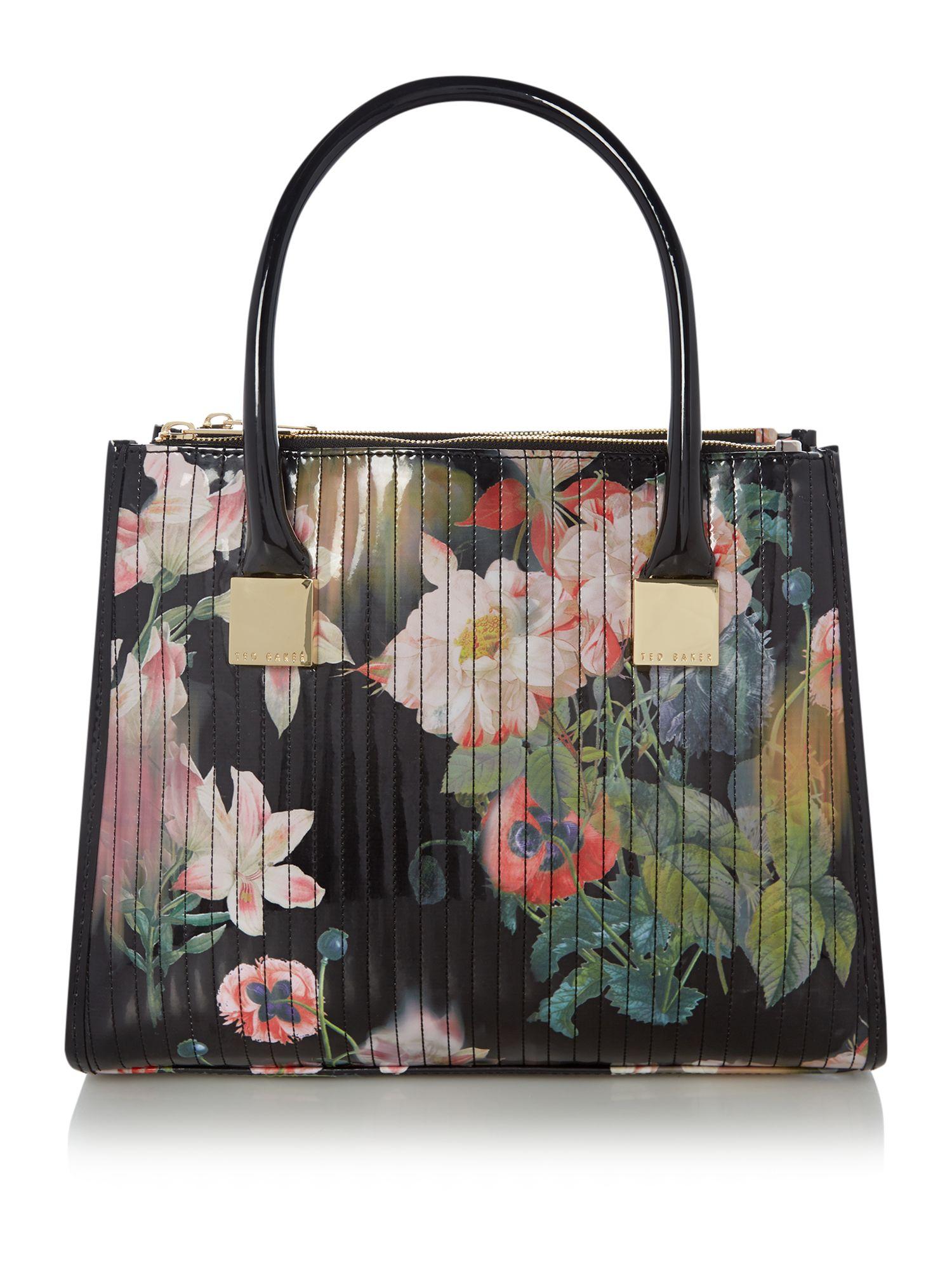Ted Baker Black Floral Quilt Tote Bag In Multicolor Black