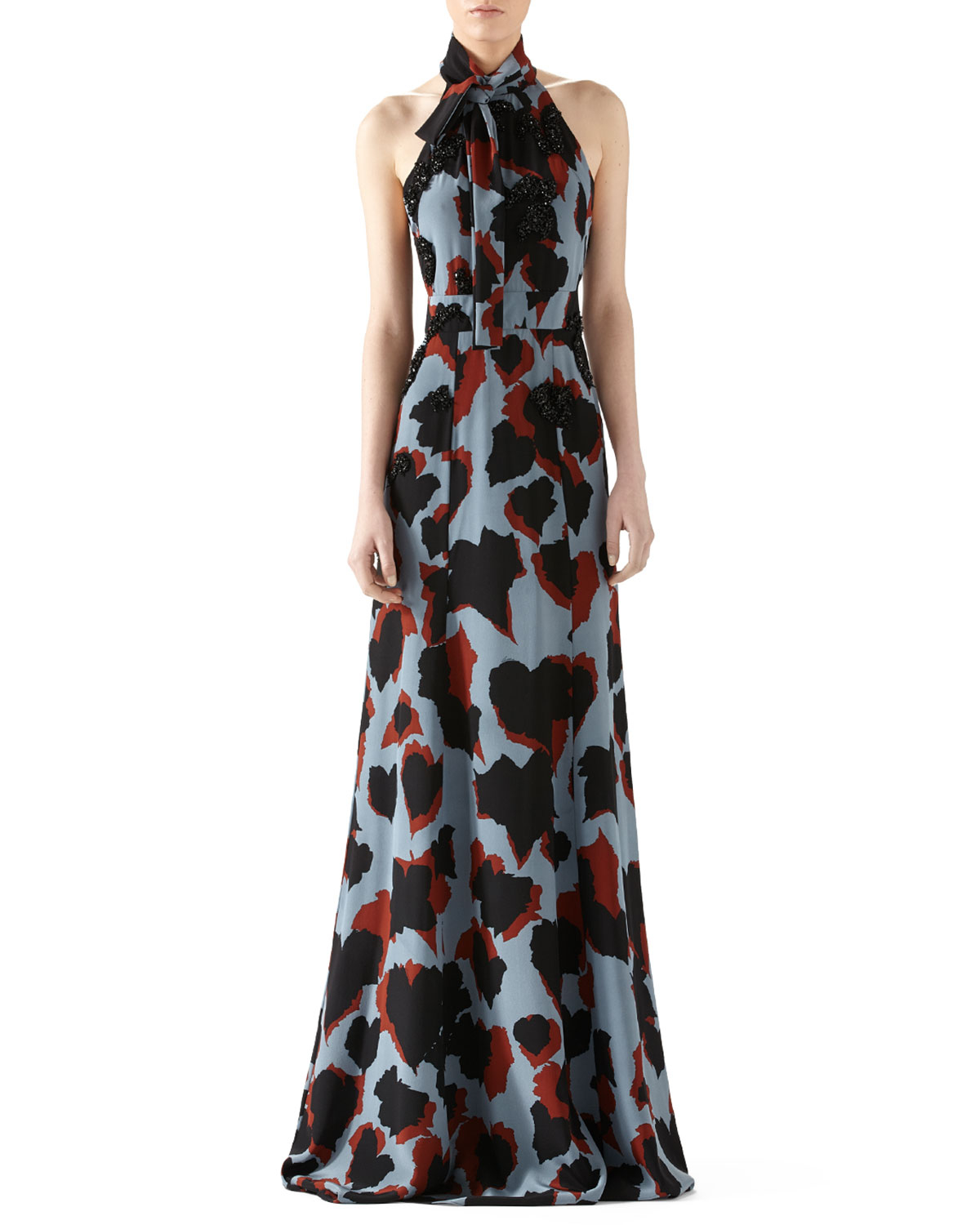00b19ee6ace Lyst - Gucci Leaves Print Embroidered Silk Gown in Blue