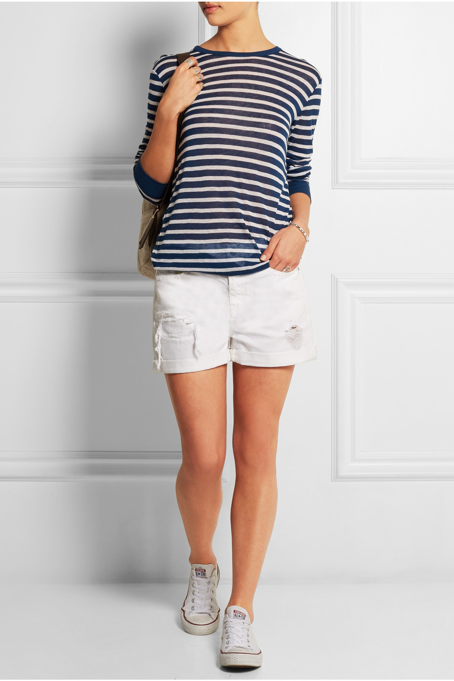 Madewell Distressed Denim Boyfriend Shorts in White | Lyst