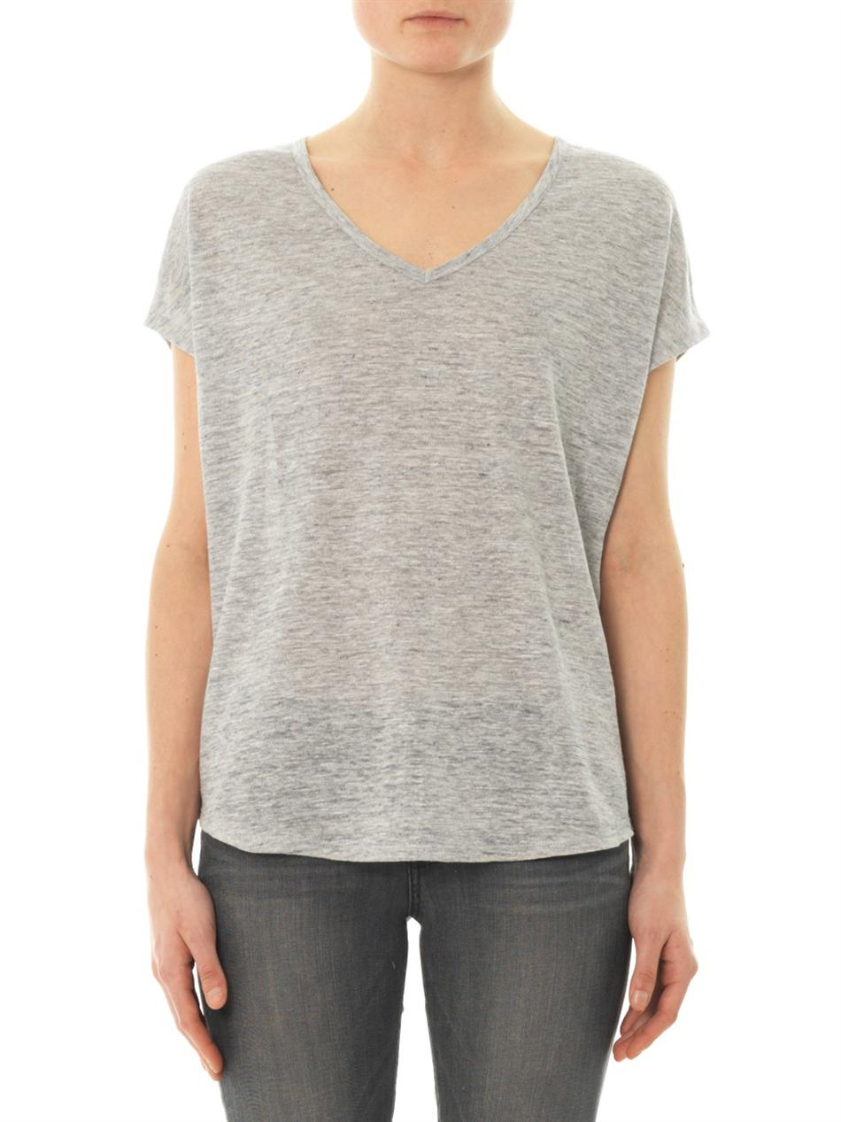 Lyst Vince Vneck Linen Tshirt In Gray For Men
