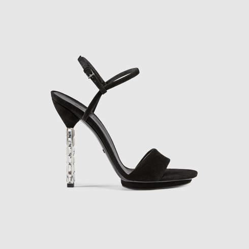 76df94bca Gucci Adlena Crystal Heel Suede Sandal in Black - Lyst