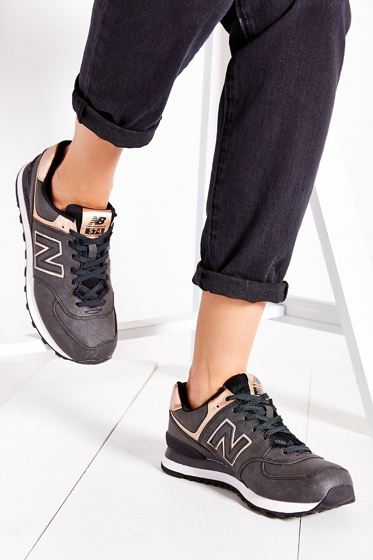 lyst new balance 574 precious metals running sneaker in gray. Black Bedroom Furniture Sets. Home Design Ideas