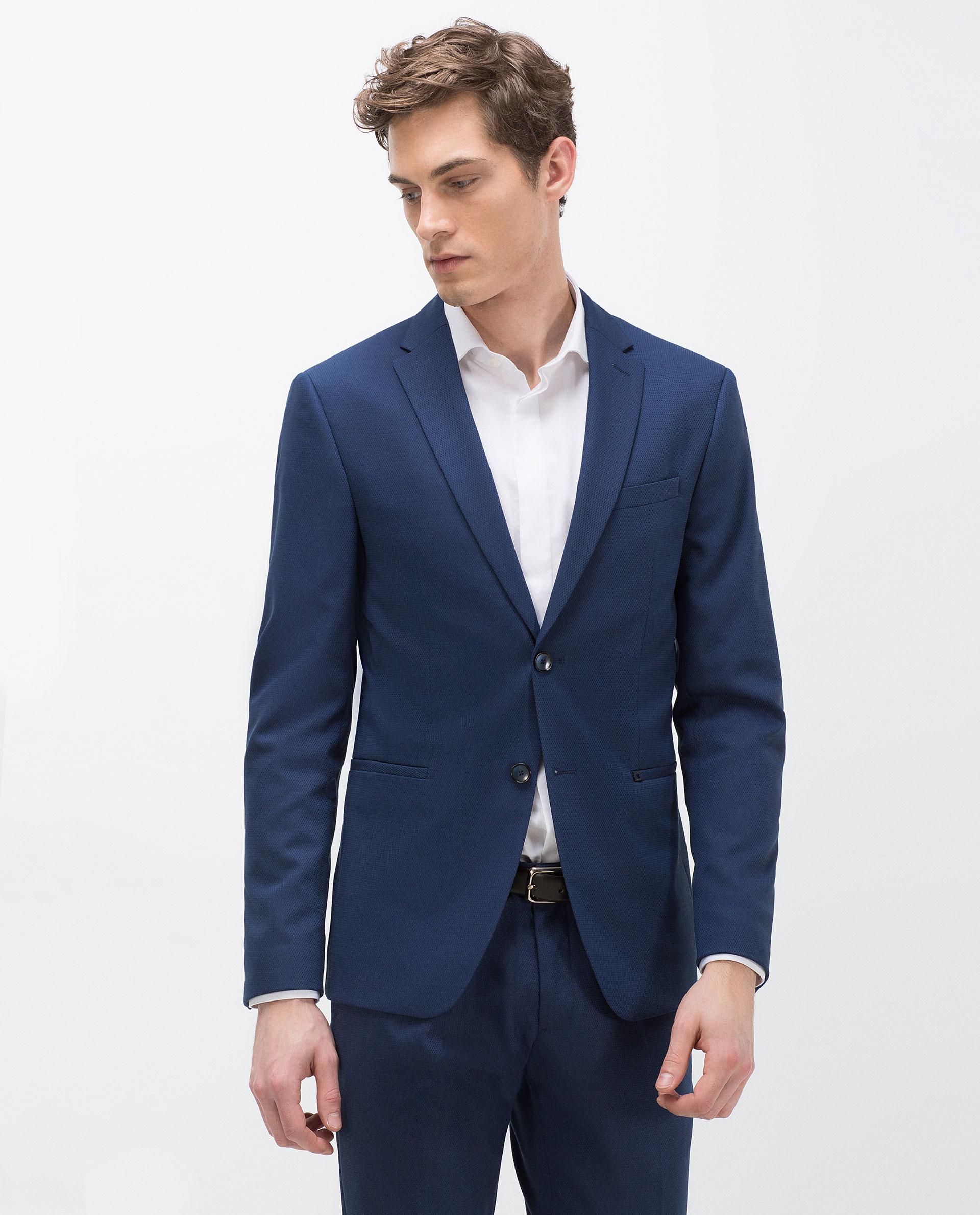 Zara Textured Weave Suit Blazer in Blue for Men