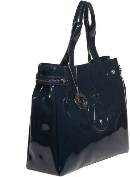 Armani Jeans Handbag Patent Leather Maxi Shopping Bag in Blue