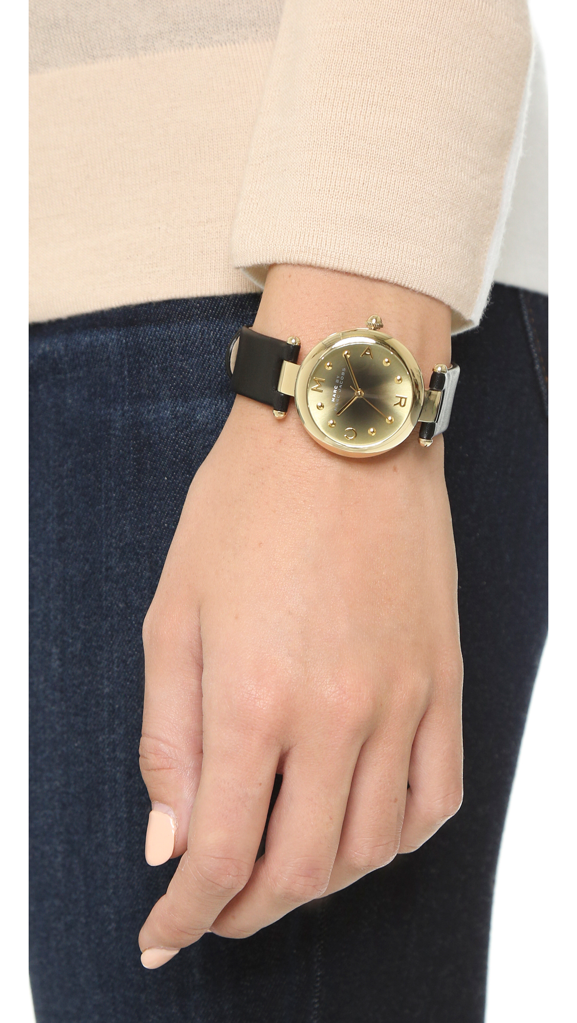 marc by marc jacobs dotty watch   gold black in metallic