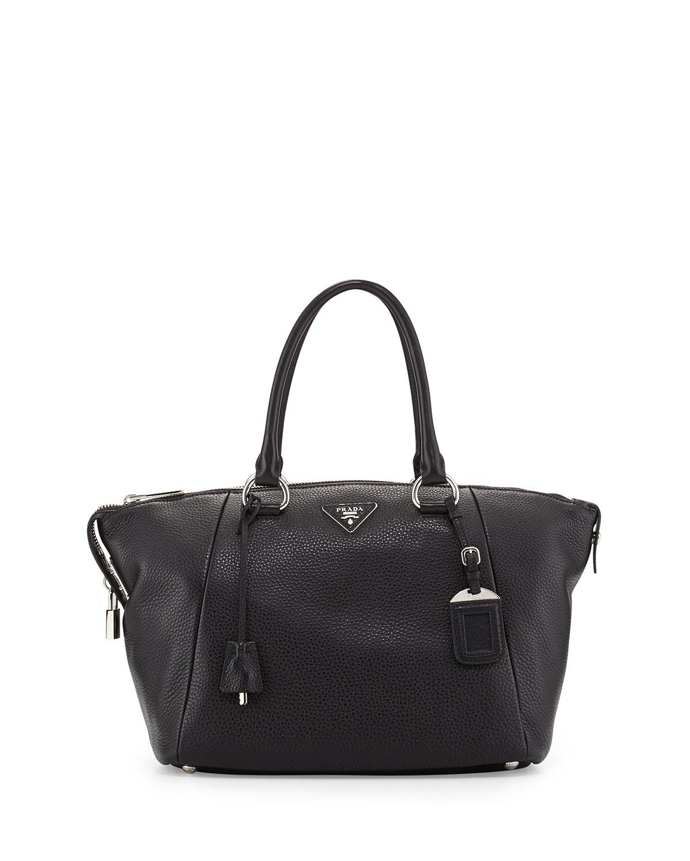 white prada bag - Prada Vitello Daino Satchel Bag in Black   Lyst