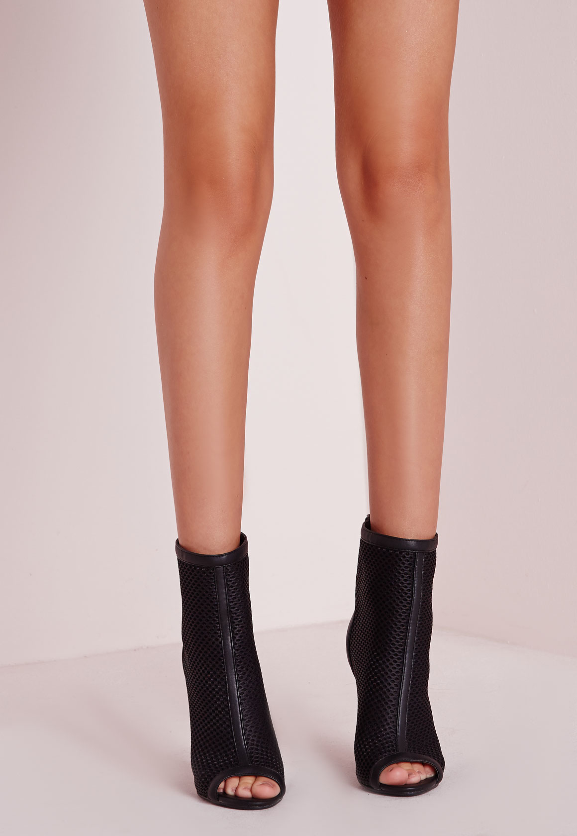 Missguided Mid Calf Mesh Peep Toe Ankle Boots In Black Lyst