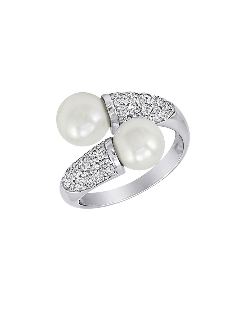 Majorica 12mm Pearl & Cubic Zirconia Pavé Ring SSS1e41