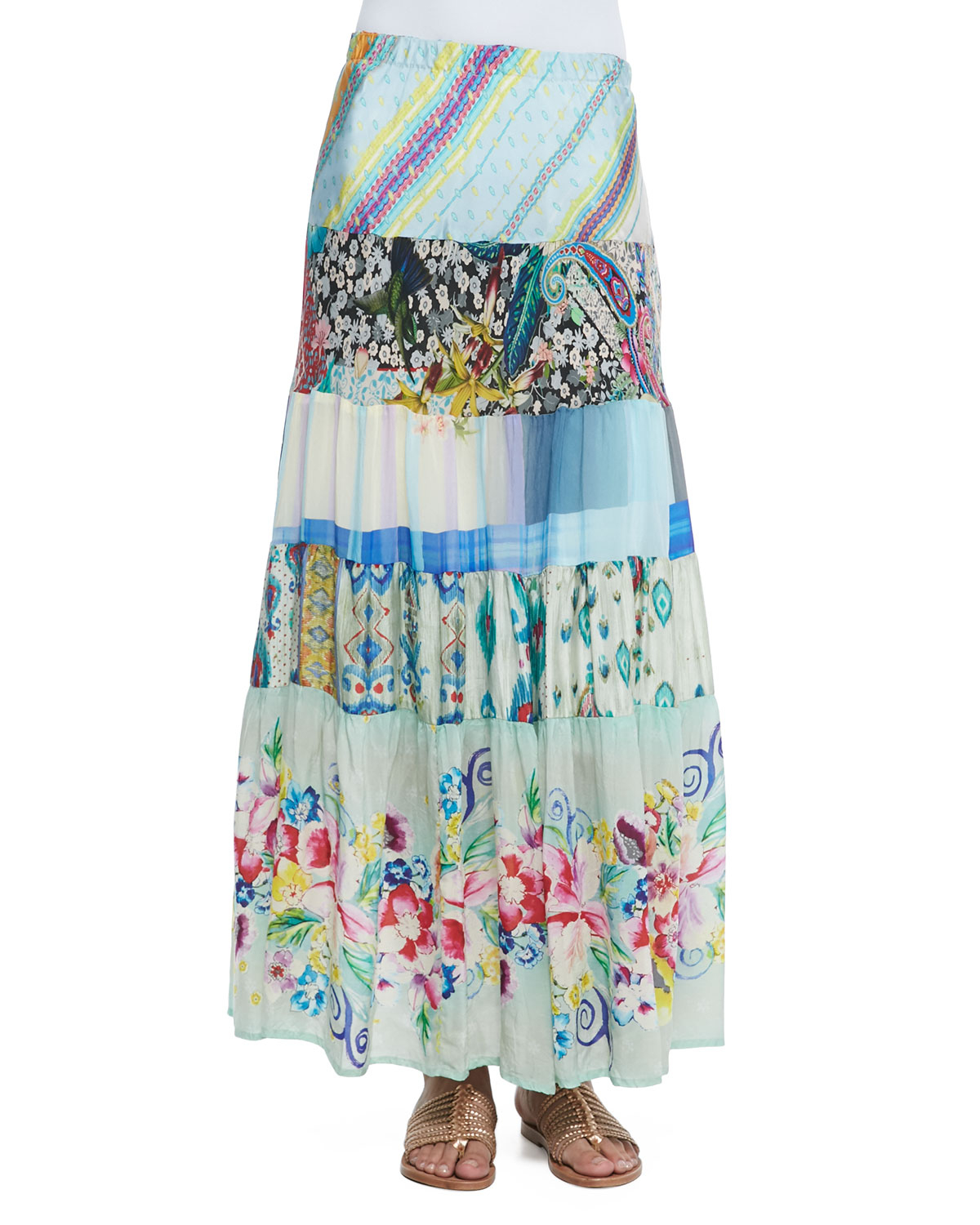 0c835645016 Johnny Was Floral-Print Tiered Silk Skirt - Lyst