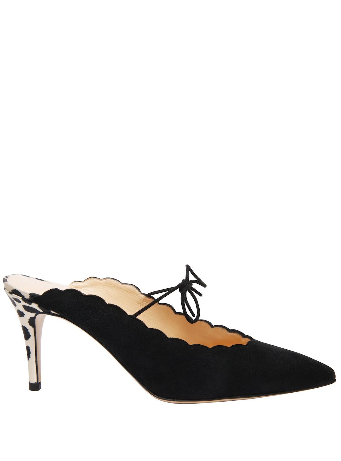 Bionda castana Marion Black Kitten Heel Mules By in Black | Lyst