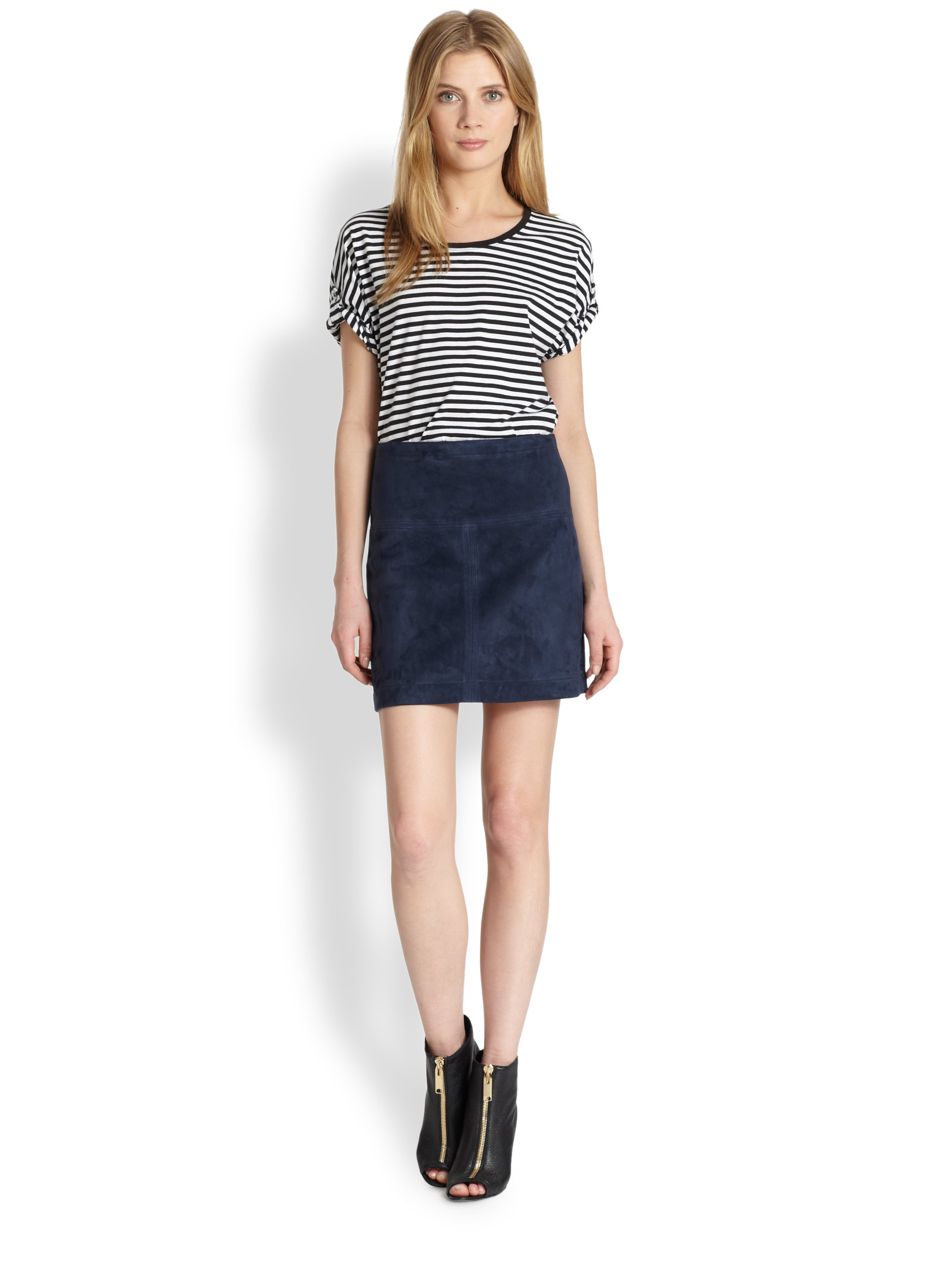 Burberry brit Suede Skirt in Blue | Lyst