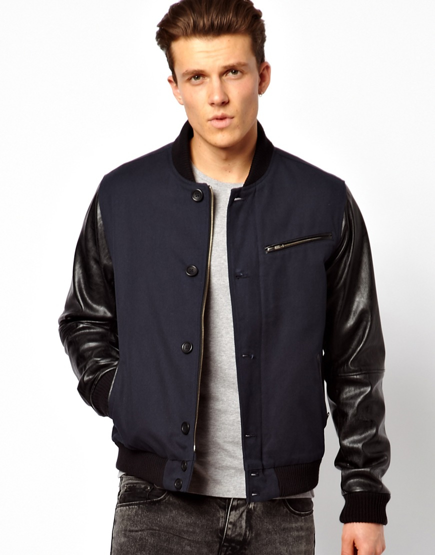 Asos Bomber Jacket with Faux Leather Sleeve in Blue for Men | Lyst