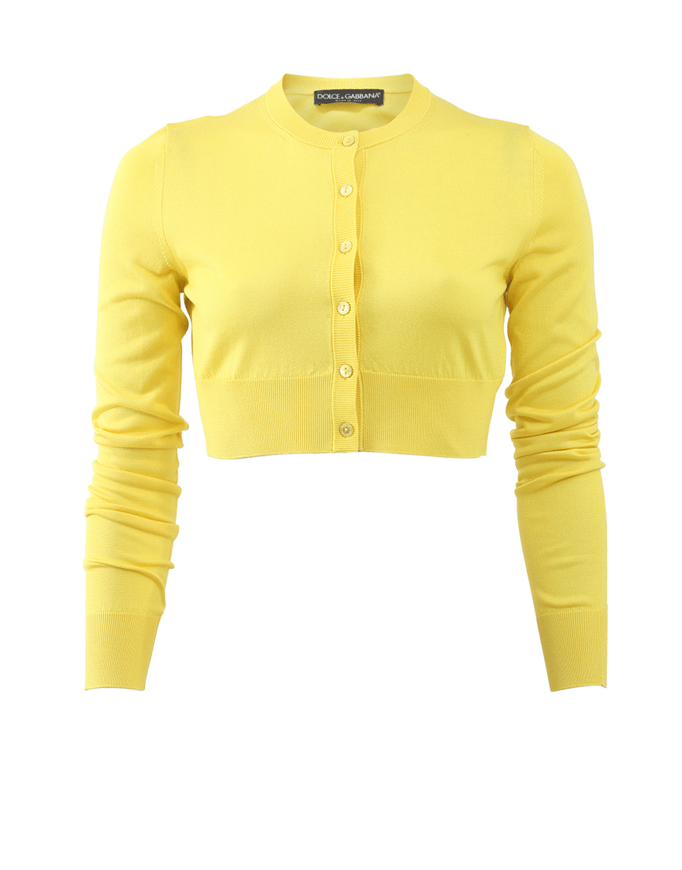 Dolce & gabbana Cropped Cardigan in Yellow | Lyst